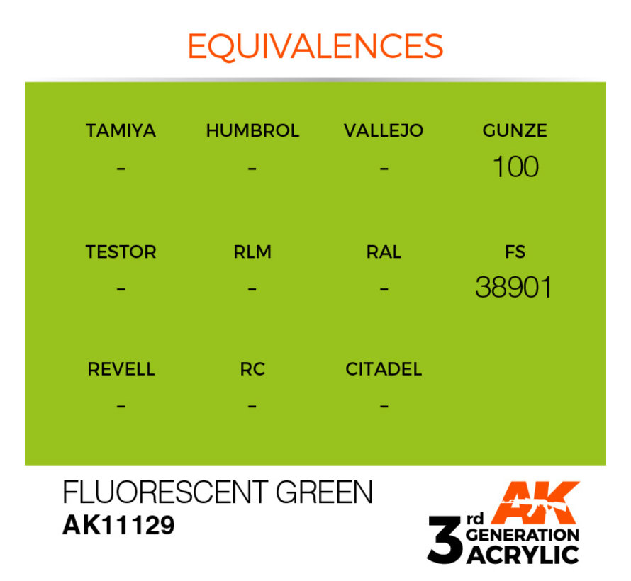 Fluorescent Green Acrylic Modelling Colors - 17ml - AK11129