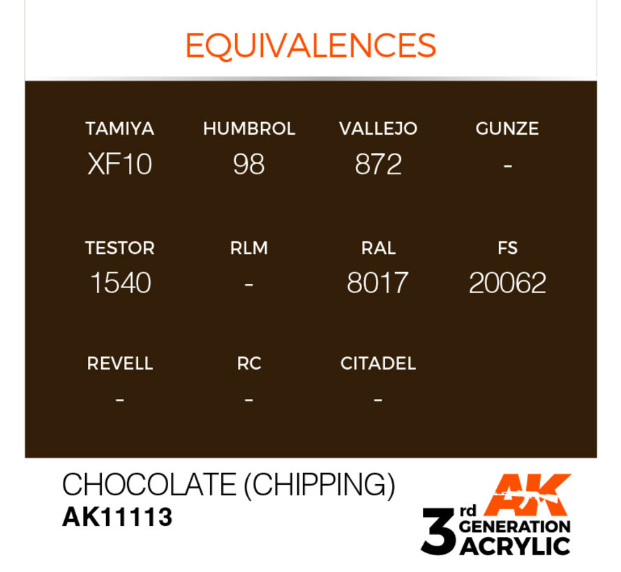 Chocolate (Chipping) Acrylic Modelling Colors - 17ml - AK11113
