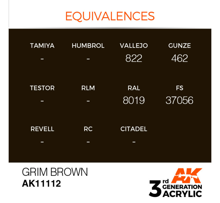 Grim Brown Acrylic Modelling Colors - 17ml - AK11112