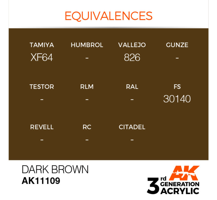 Dark Brown Acrylic Modelling Colors - 17ml - AK11109