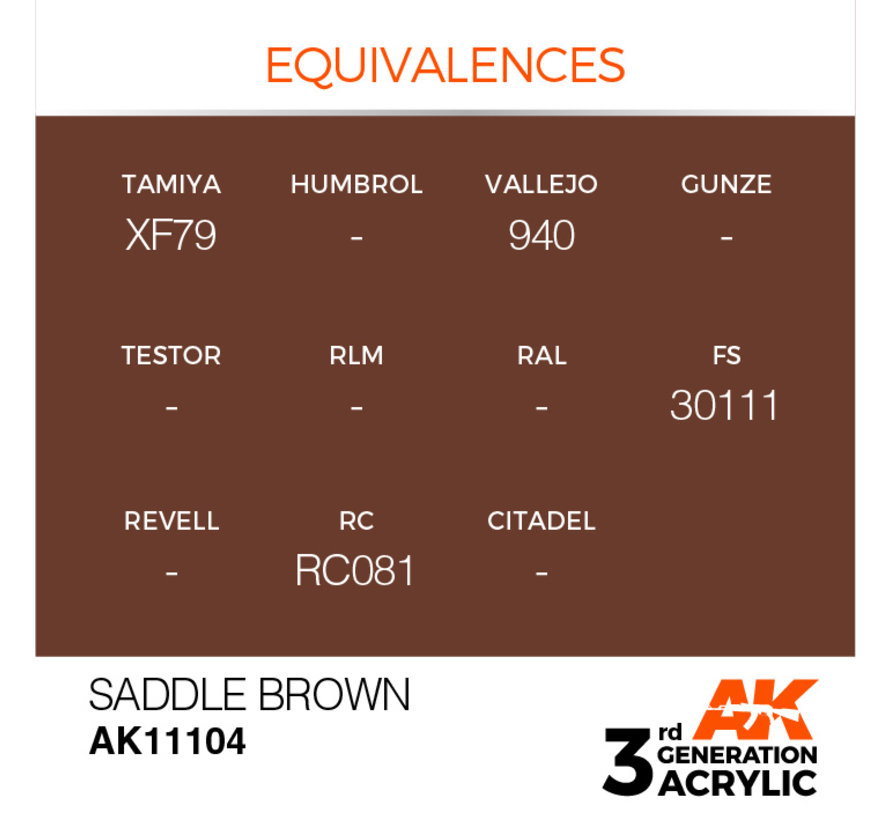 Saddle Brown Acrylic Modelling Colors - 17ml - AK11104