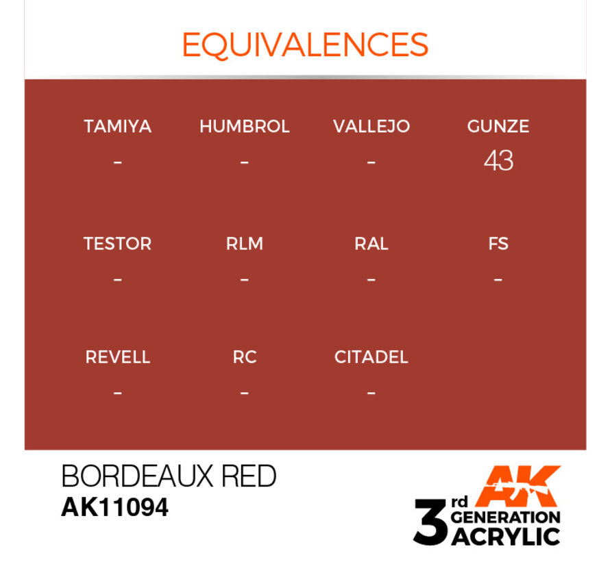 Bordeaux Red Acrylic Modelling Colors - 17ml - AK11094