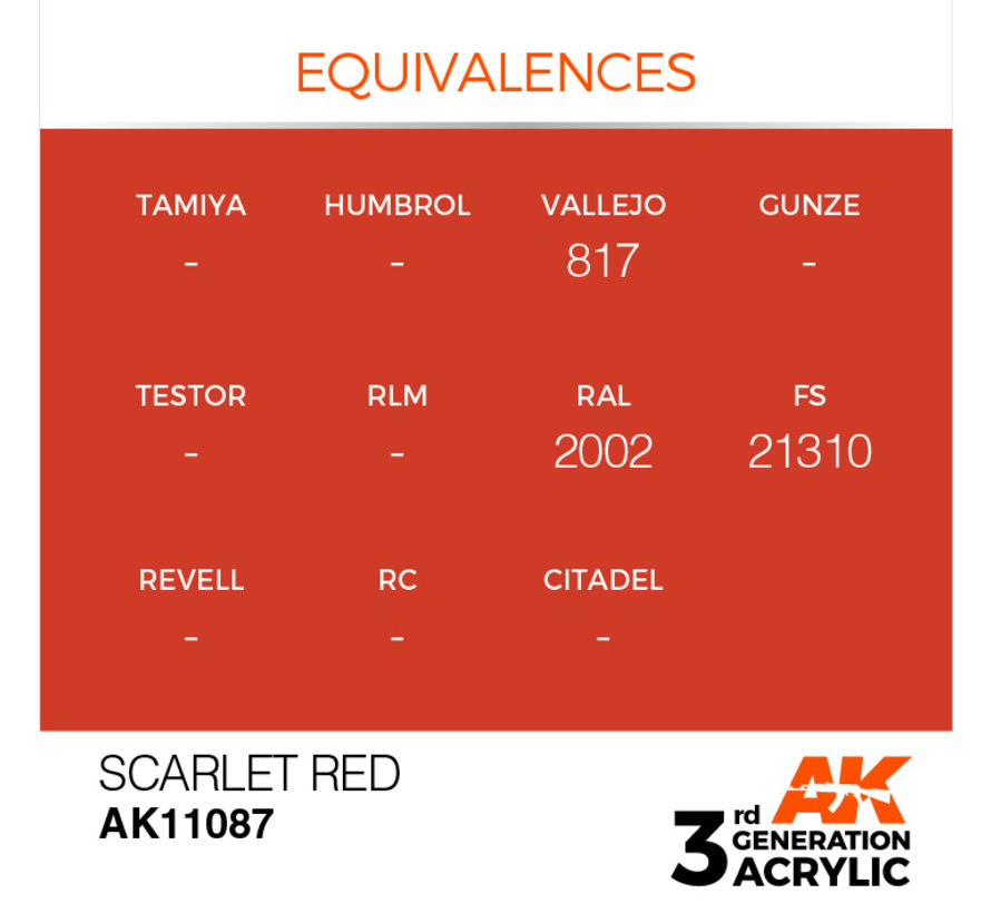 Scarlet Red Acrylic Modelling Colors - 17ml - AK11087