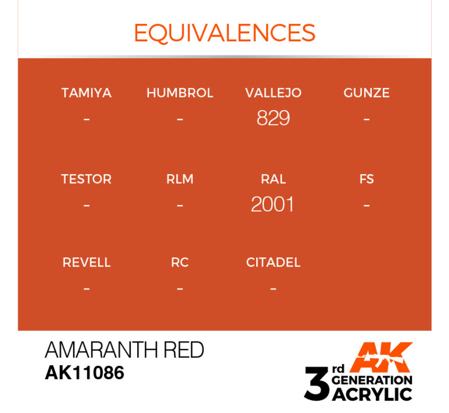 Amaranth Red Acrylic Modelling Colors - 17ml - AK11086
