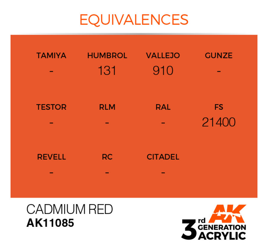 Cadmium Red Acrylic Modelling Colors - 17ml - AK11085