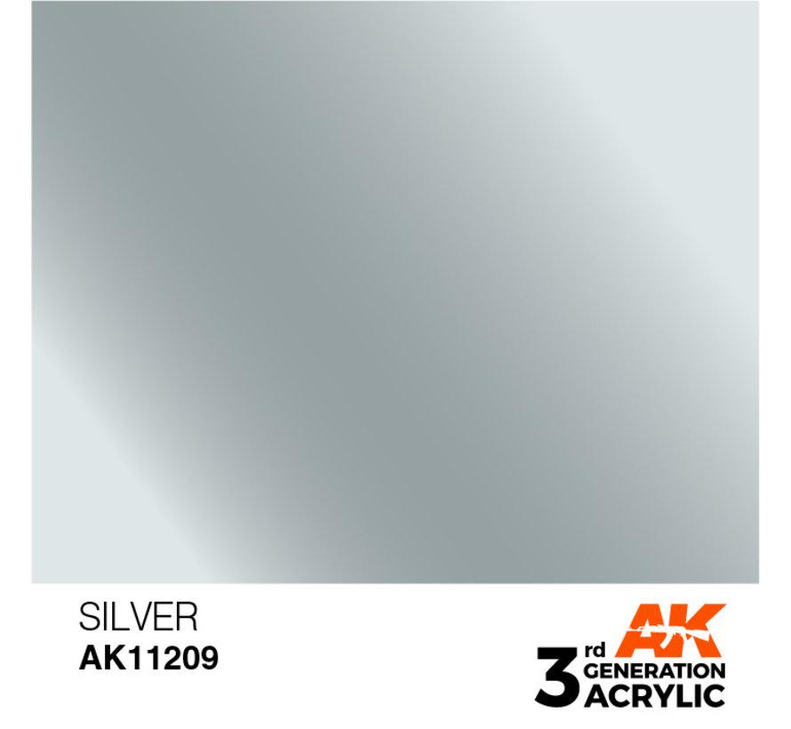 Silver Metallic Modelling Colors - 17ml - AK11209