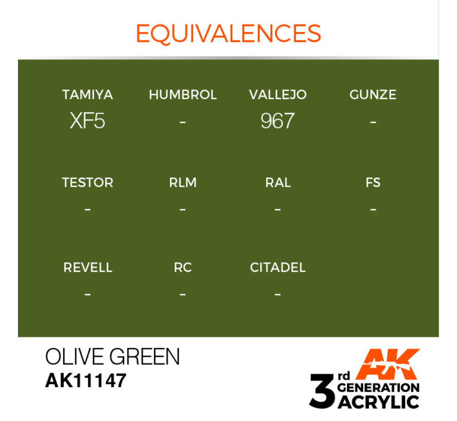 Olive Green Acrylic Modelling Colors - 17ml - AK11147