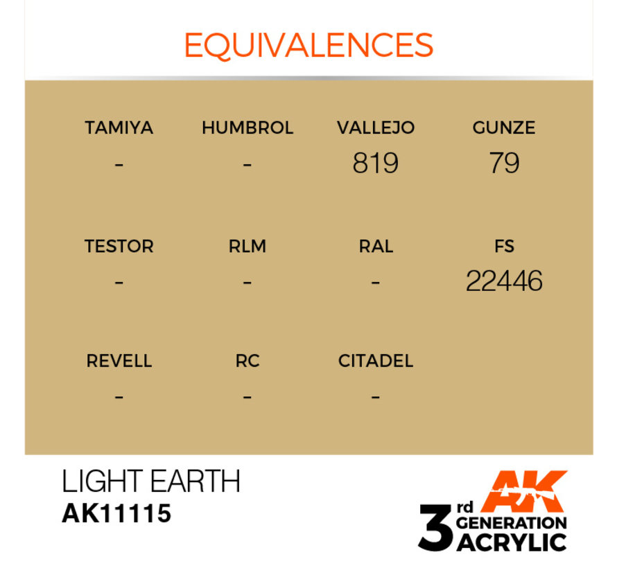 Light Earth Acrylic Modelling Colors - 17ml - AK11115