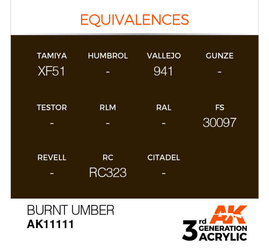 Burnt Umber Acrylic Modelling Colors - 17ml - AK11111