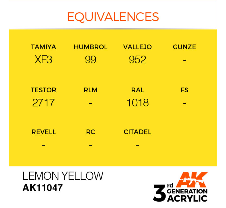 Lemon Yellow Acrylic Modelling Colors - 17ml - AK11047