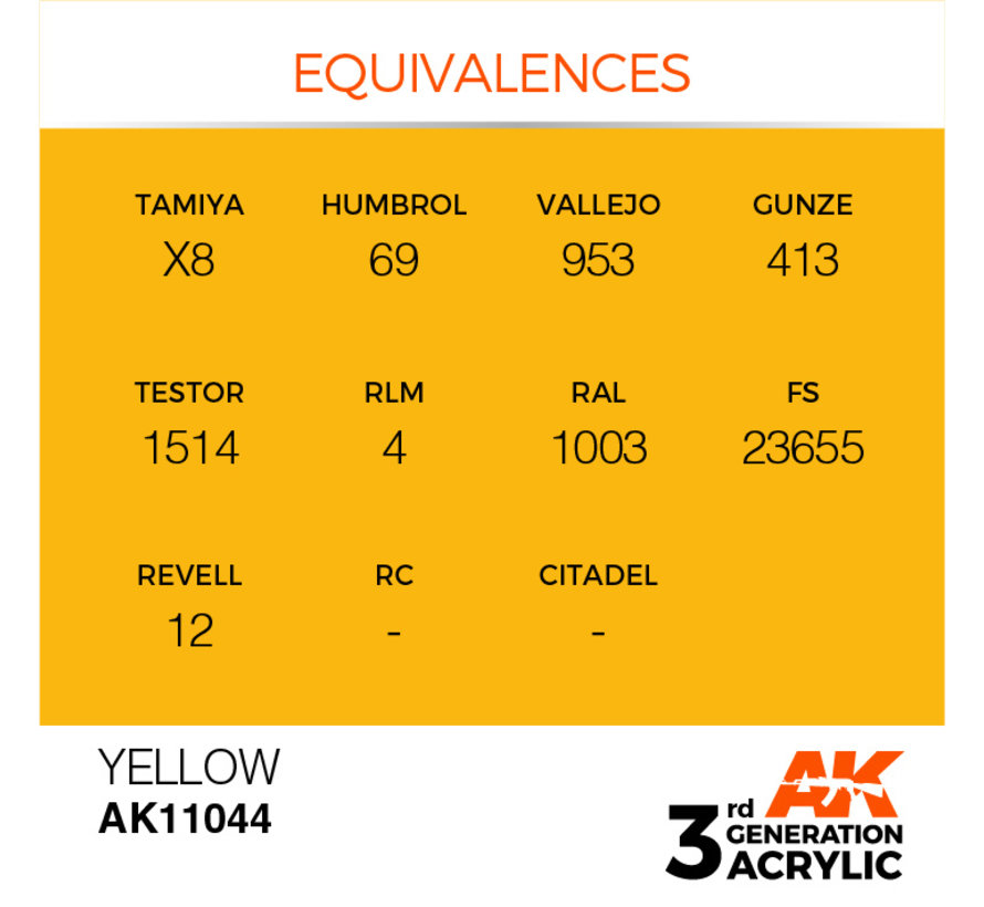 Yellow Acrylic Modelling Colors - 17ml - AK11044