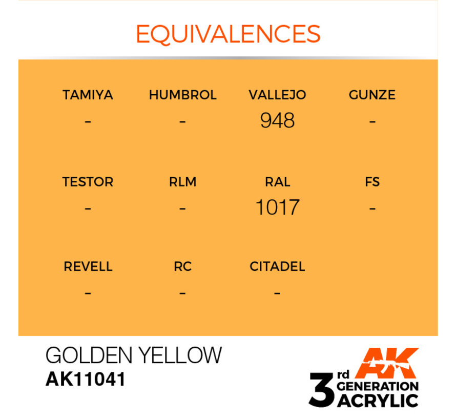 Golden Yellow Acrylic Modelling Colors - 17ml - AK11041