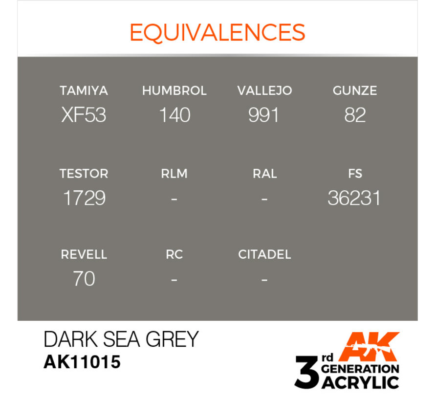 Dark Sea Grey Acrylic Modelling Colors - 17ml - AK11015