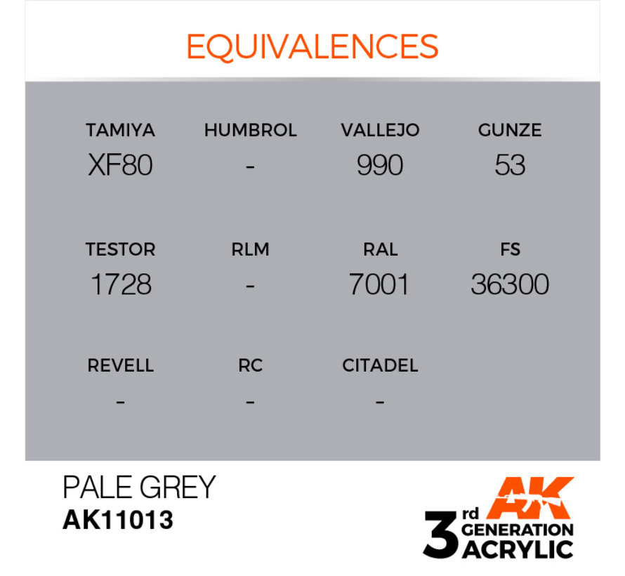 Pale Grey Acrylic Modelling Colors - 17ml - AK11013