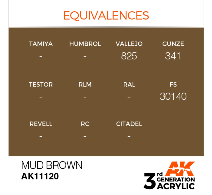 Mud Brown Acrylic Modelling Colors - 17ml - AK11120