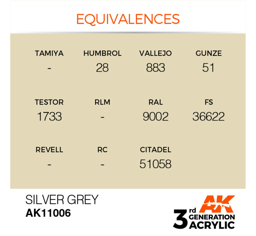 Silver Grey Acrylic Modelling Colors - 17ml - AK11006