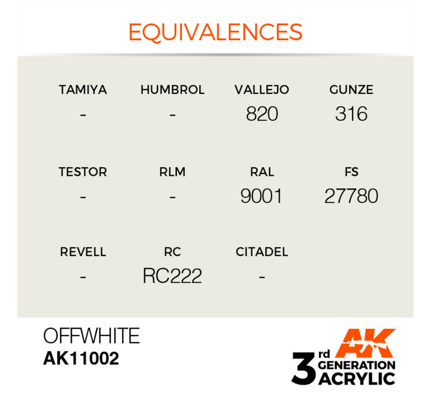 Offwhite Acrylic Modelling Colors - 17ml - AK11002