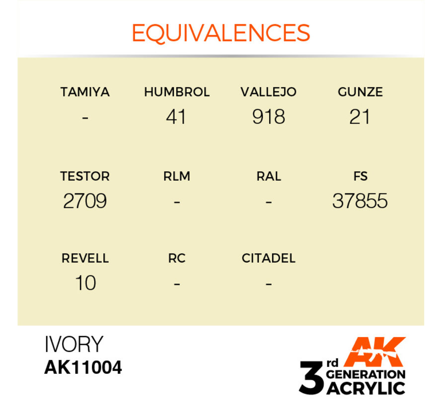 Ivory Acrylic Modelling Colors - 17ml - AK11004