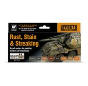 Vallejo Model Color Rust, Stain and streaking - 8 kleuren - 17ml - 70183