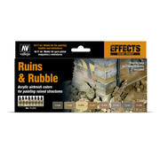 Vallejo Model Air Effects Series Ruins & Rubble - 8 kleuren - 17ml - 71214