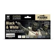 Vallejo Model Color Black & White - 8 kleuren - 17ml - 70151