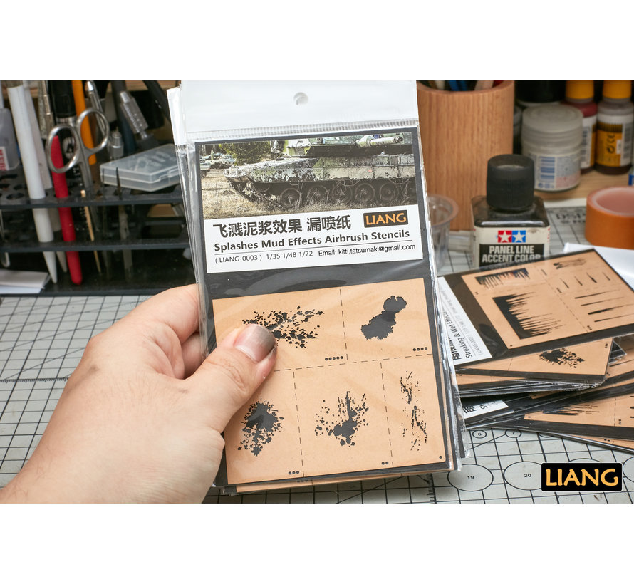Splashes Mud Effects Airbrush Stencils - LIANG-0003