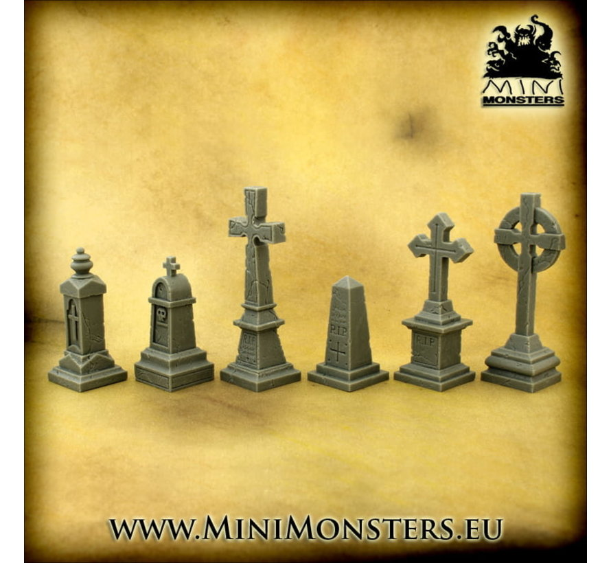 Mini Monsters Cemetery Monuments - 6x - MM-0106