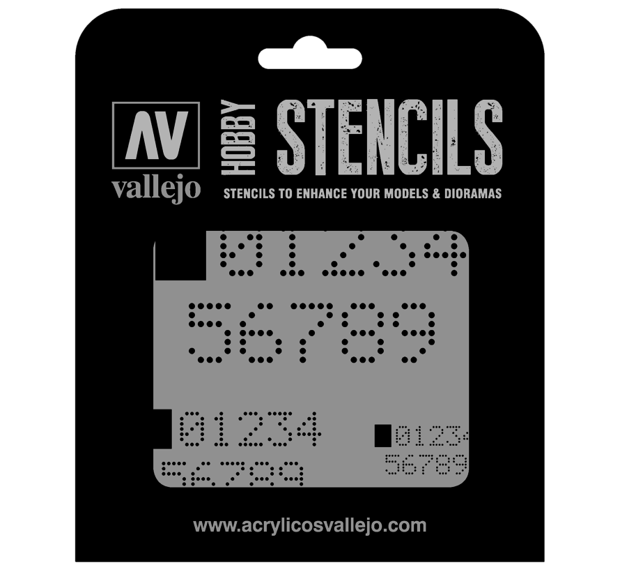 Vallejo Digital Numbers - Sci-Fi & Fantasy Airbrush Stencil - ST-SF004