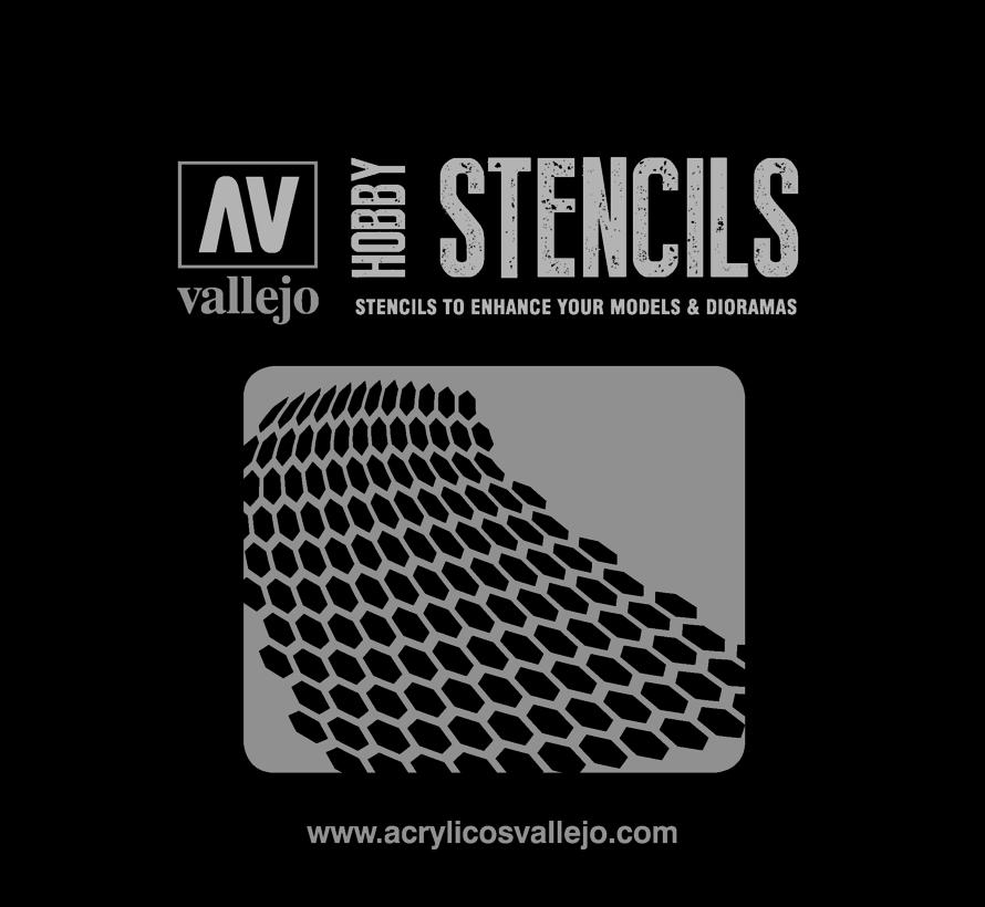 Vallejo Distorted Honeycomb - Sci-Fi & Fantasy Airbrush Stencil - ST-SF003