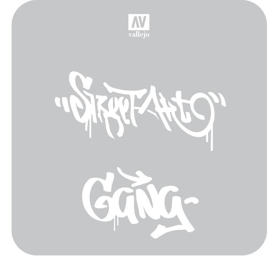 Vallejo Street Art Num. 2 - 1/35 - Lettering & Signs Airbrush Stencil - ST-LET004