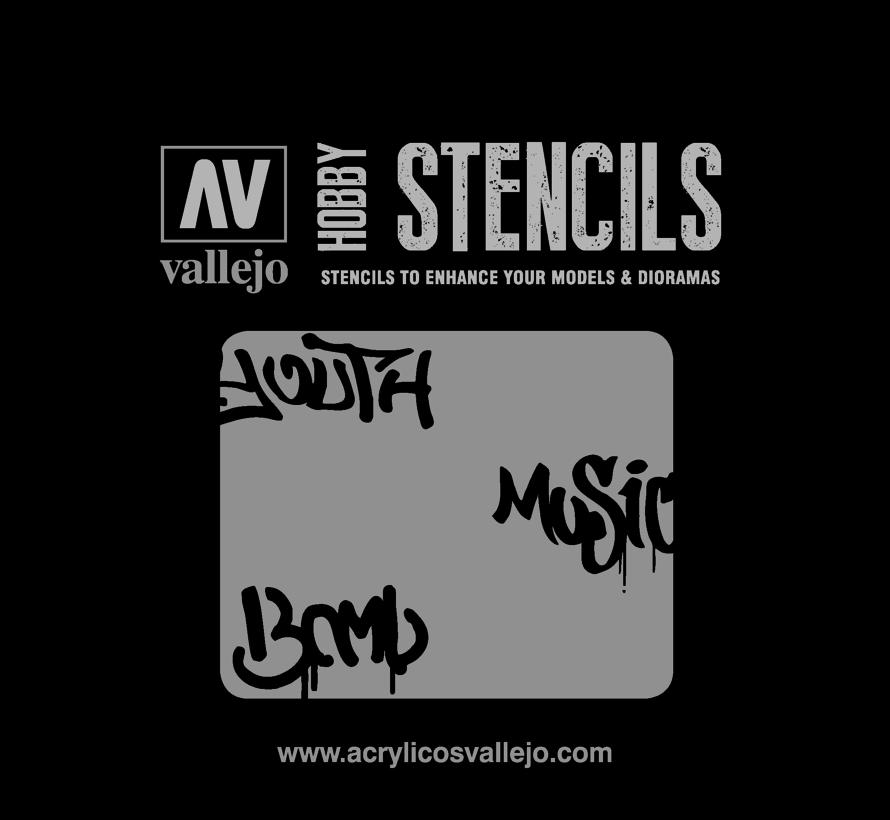 Vallejo Street Art Num. 1 - 1/35 - Lettering & Signs Airbrush Stencil - ST-LET003