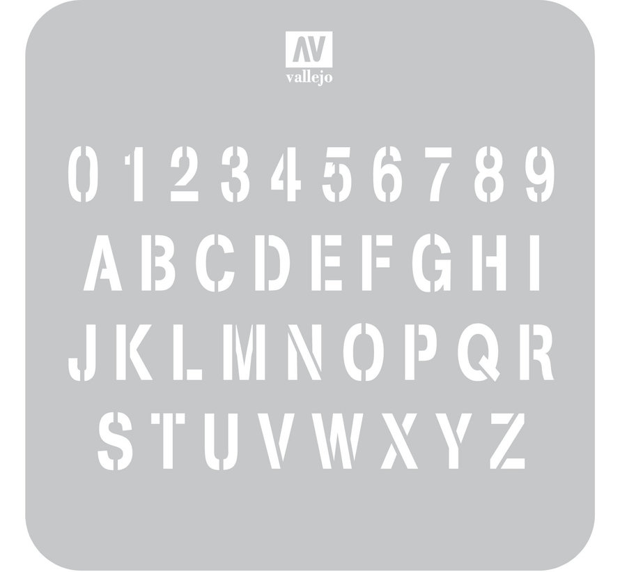 Vallejo Stamp Font - 1/35 - Lettering & Signs Airbrush Stencil - ST-LET002