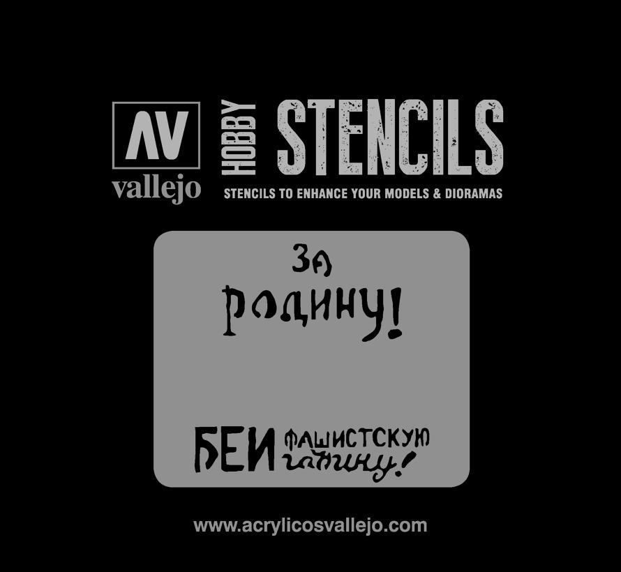 Vallejo Soviet Slogans WWII Num. 2 - 1/35 - AFV Markings Airbrush Stencil - ST-AFV005