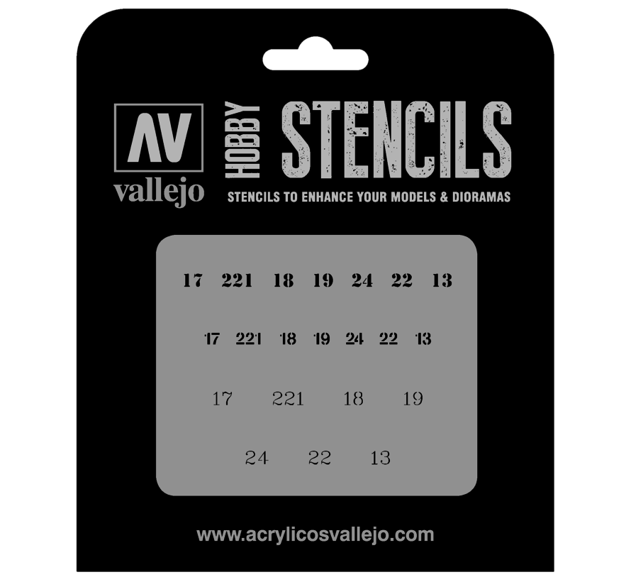 Vallejo Soviet Numbers WWII - 1/35 - AFV Markings Airbrush Stencil - ST-AFV003