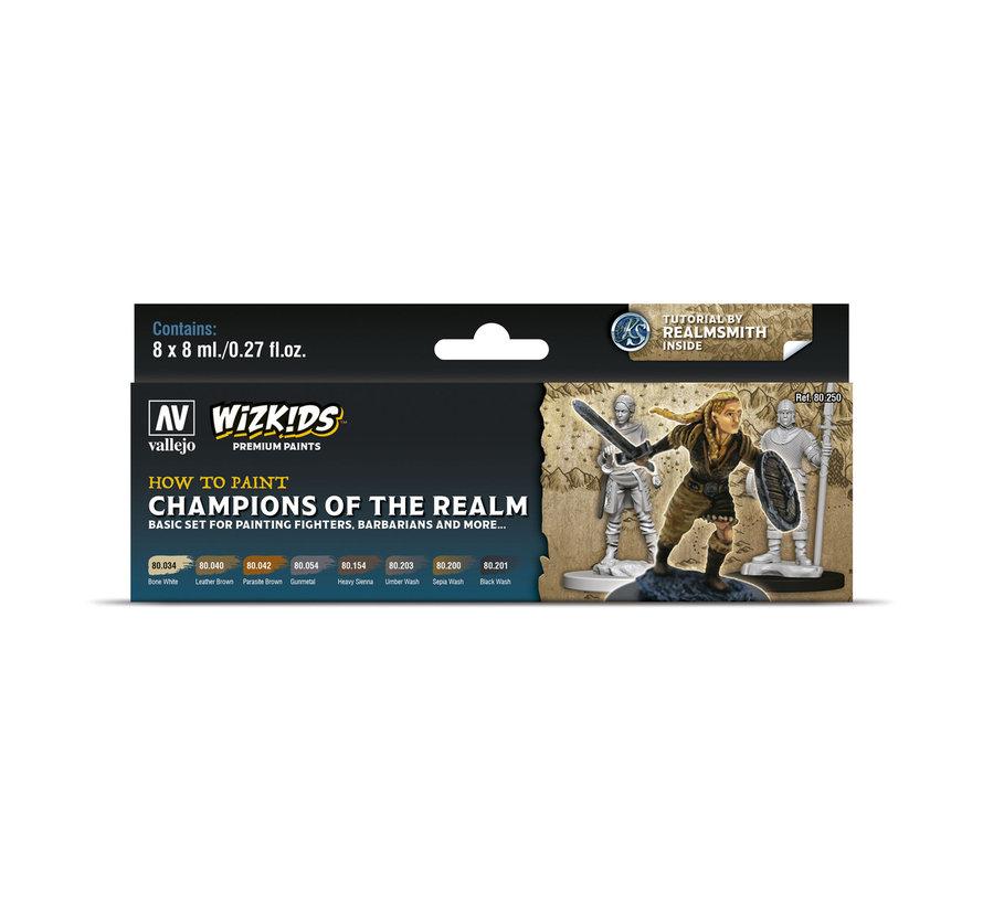 Vallejo Champions of the Realm - Wizkids Premium Paints - 8 kleuren - 8ml - 80250