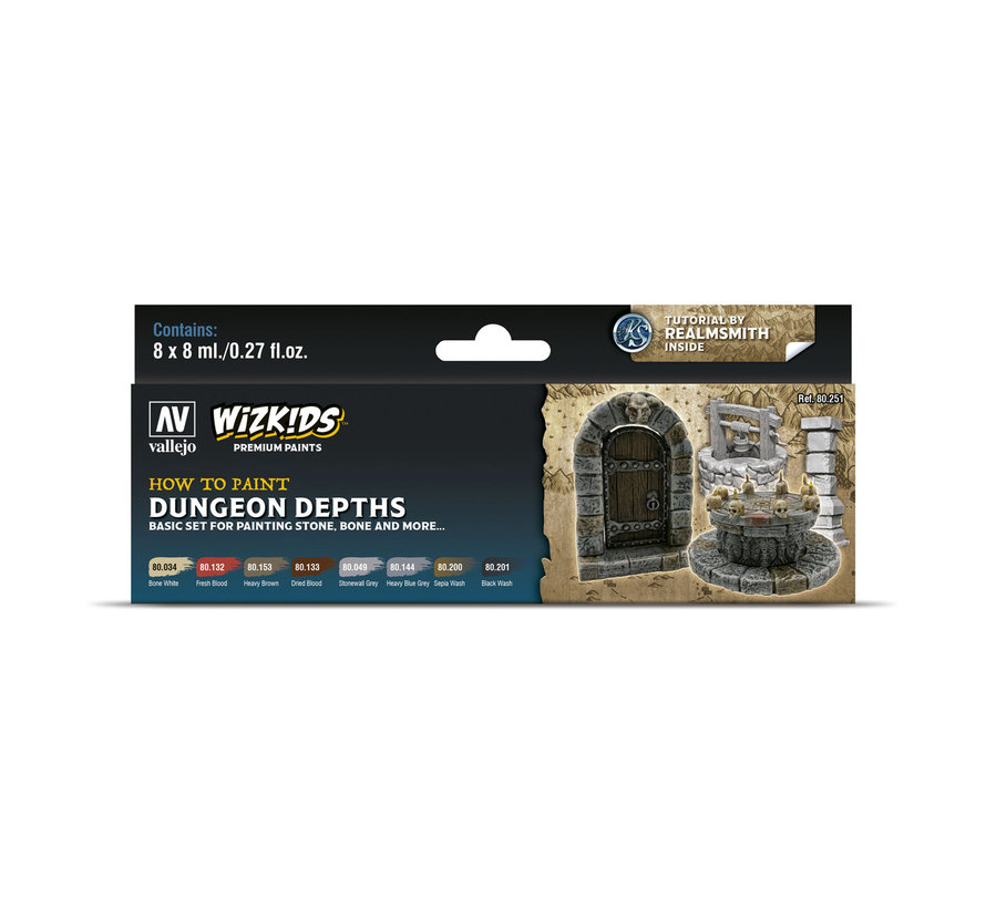 Vallejo Dungeon Depths - Wizkids Premium Paints - 8 kleuren - 8ml - 80251