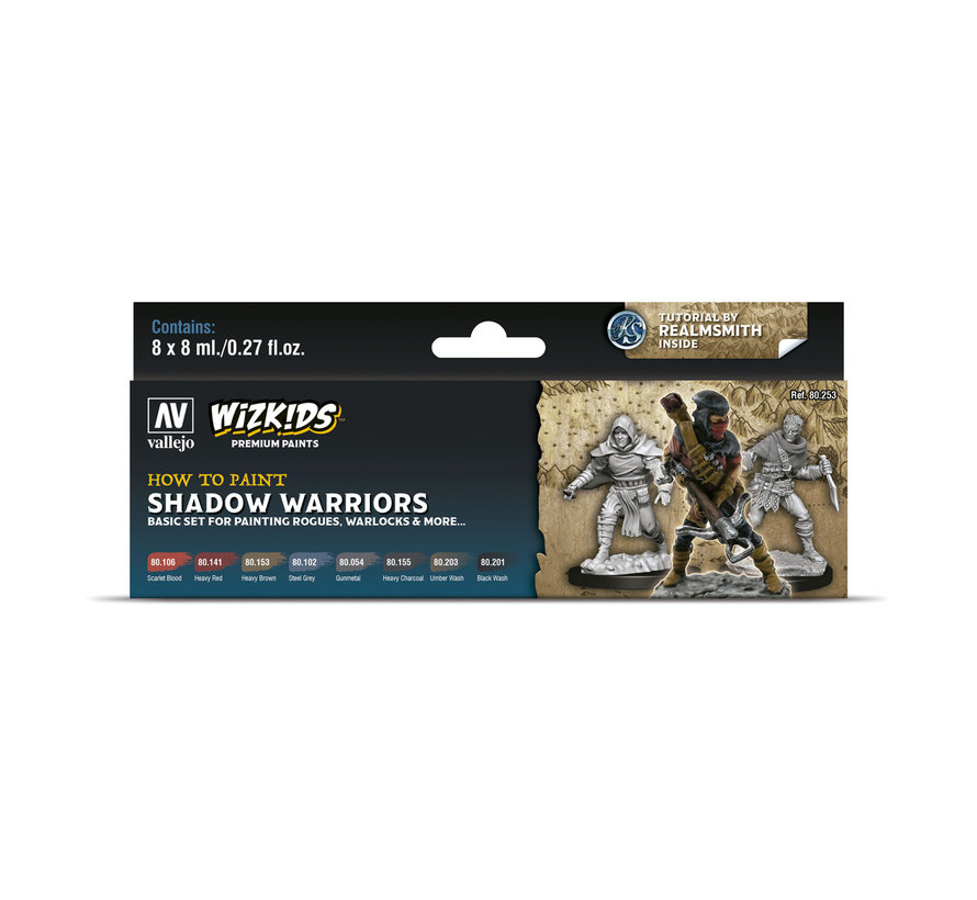 Vallejo Shadow Warriors - Wizkids Premium Paints - 8 kleuren - 8ml - 80253