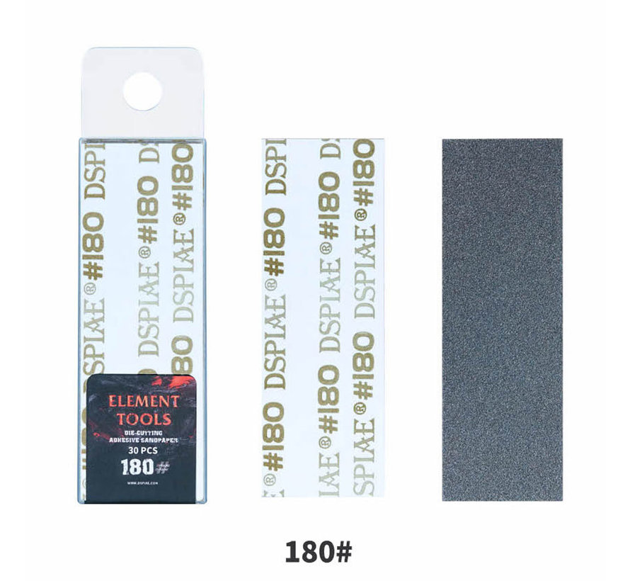 DSPIAE Adhesive Sandpaper 180 grit strips - 75x25mm - 30x - WSP-180