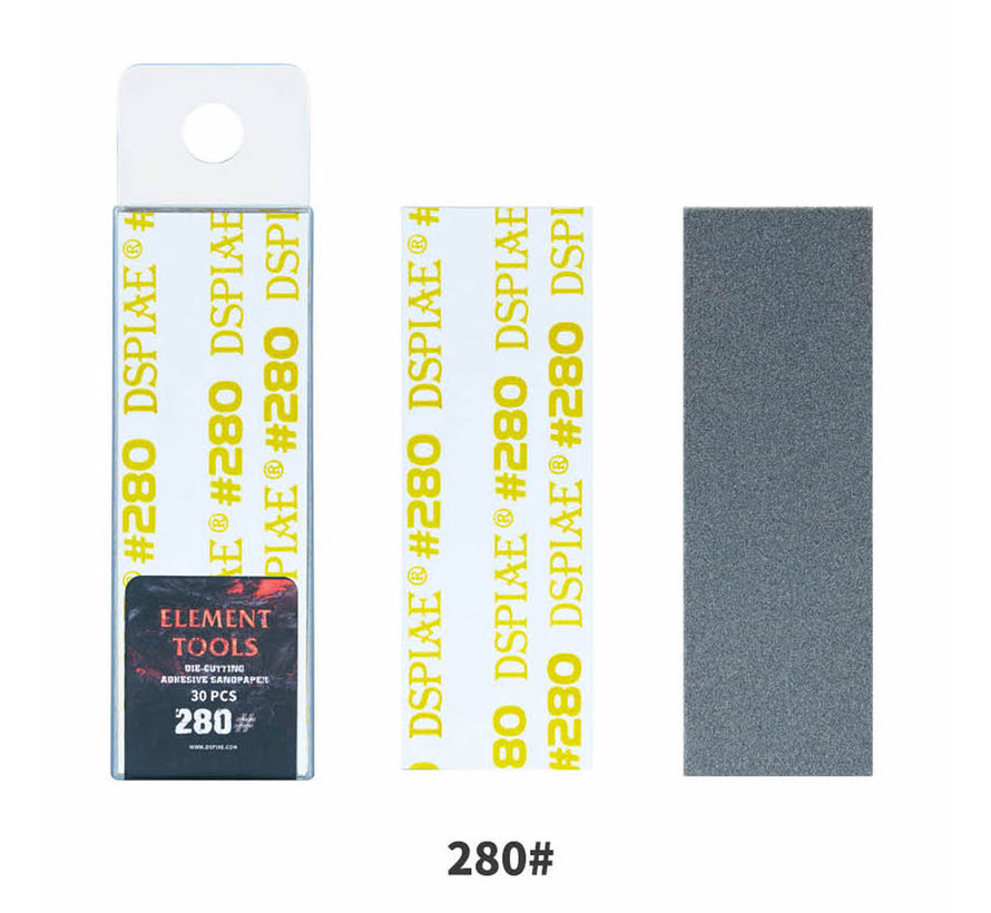 DSPIAE Adhesive Sandpaper 280 grit strips - 75x25mm - 30x - WSP-280