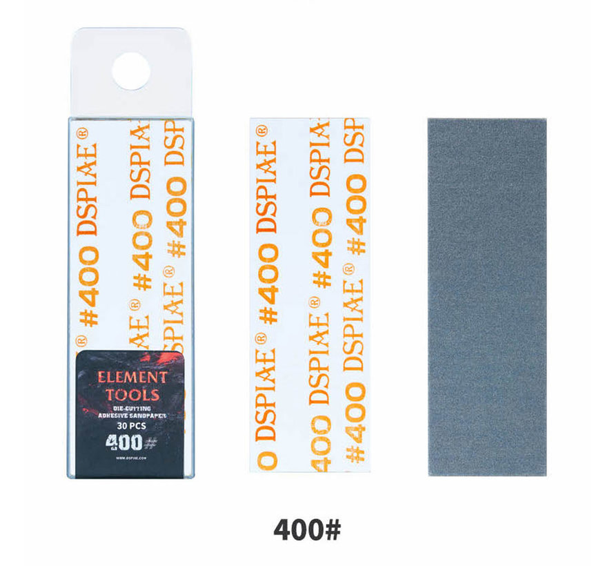 DSPIAE Adhesive Sandpaper 400 grit strips - 75x25mm - 30x - WSP-400