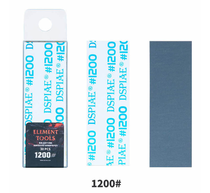 DSPIAE Adhesive Sandpaper 1200 grit strips - 75x25mm - 30x - WSP-1200