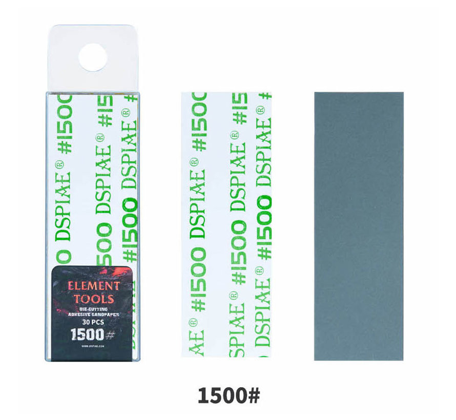 DSPIAE Adhesive Sandpaper 1500 grit strips - 75x25mm - 30x - WSP-1500