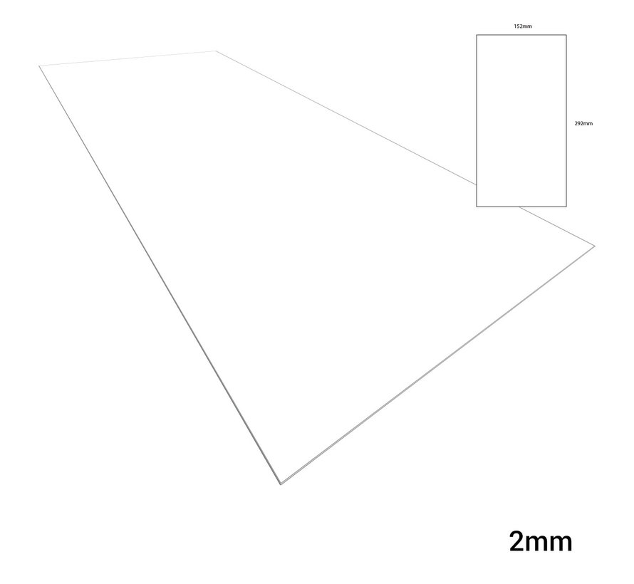 Evergreen Plasticard White - 2mm - 152x292mm - 1x - 9080