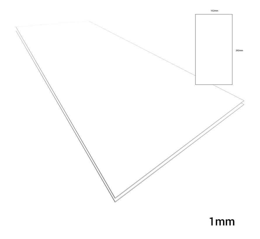 Evergreen Plasticard White - 1mm - 152x292mm - 2x - 9040
