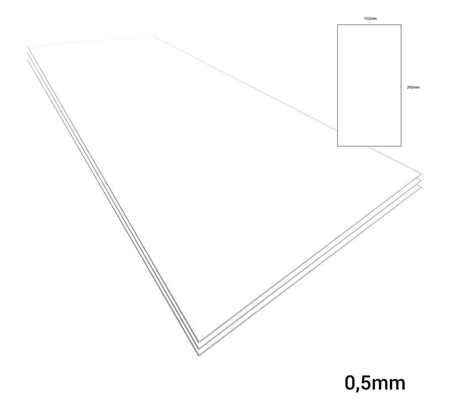 Evergreen Plasticard Whiet - 0,5mm - 152x292mm - 3x - 9020