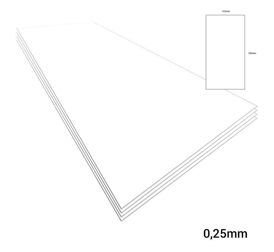 Evergreen Plasticard White - 0,25mm - 152x292mm - 4x - 9010