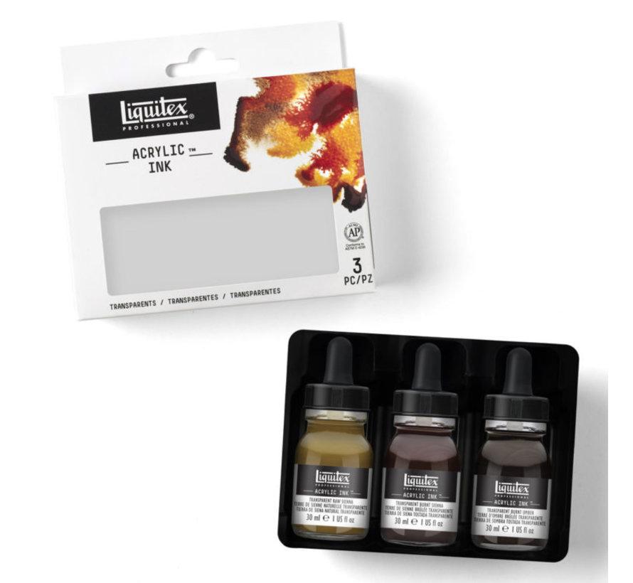 Liquitex Professional Acryl Ink! Transparants Set - 3 kleuren - 30ml - 3699239