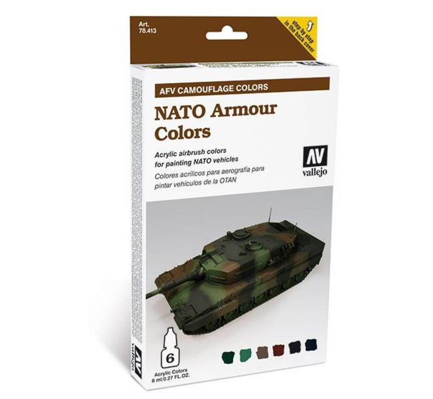 Model Air AFV Camouflage Colors - NATO Armour Colors - 6 kleuren - 8ml - 78413
