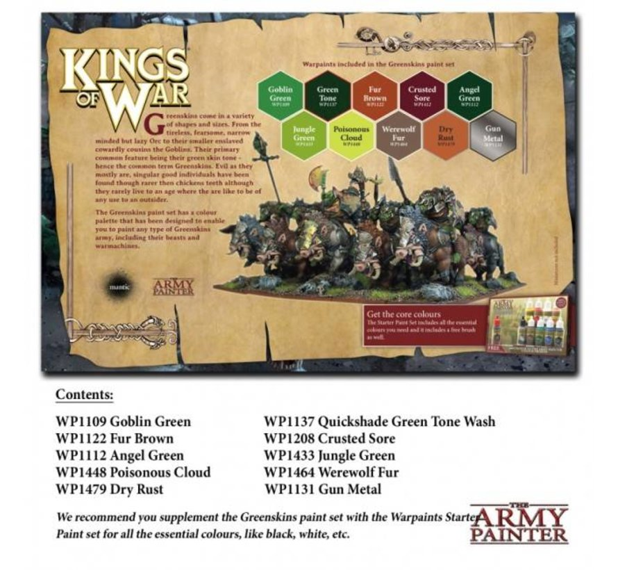 Warpaints Kings of War Greenskins Paint Set - 10 kleuren - 17 ml - WP8014