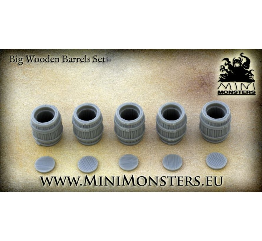 Big Wooden Barrels - 5x - MM-0004